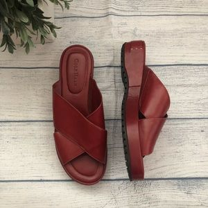 Cole Haan Red Leather Criss Cross Sandals